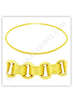 23k Yellow Gold Matte Diamond-Cut Hollow Round Box Necklaces