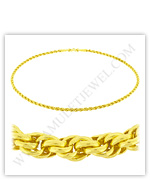 23k Yellow Gold Polished Solid Rope Necklaces