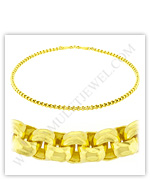 23k Yellow Gold Polished Diamond-Cut Solid Rolo Necklaces