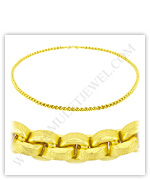 23k Yellow Gold Matte Diamond-Cut Hollow Round Anchor Necklaces