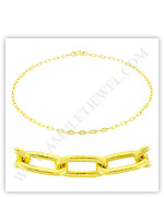 23k Yellow Gold Polished Solid Long Flat Cable Necklaces