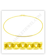 23k Yellow Gold Polished Solid Flat Cable Necklaces