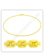 23k Yellow Gold Polished Solid Anchor Chain Necklaces