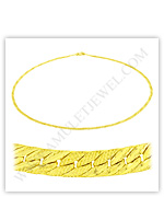 23k Yellow Gold Matte Diamond-Cut Solid Flat Curb Necklaces