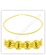 23k Yellow Gold Polished Diamond-Cut Hollow Triple Link Necklaces