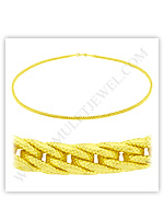 23k Yellow Gold Matte Diamond-Cut Hollow Braided Link Necklaces