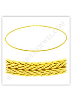 23k Yellow Gold Polished Solid Foxtail Mesh Necklaces