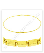 23k Yellow Gold Polished Solid Short Square Barrel Necklaces