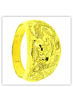 23k Yellow Polished Sparkling Diamond-Cut Hollow Dragon Rings