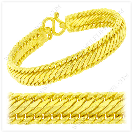 Gold Mesh Bracelets Solid Flat Braided Wire Link Mesh Chains AJ
