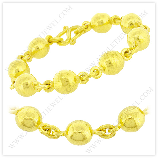 23k Yellow Gold Polished Hollow Rosary Bead Chain Bracelets (Gold Bead Bracelets)