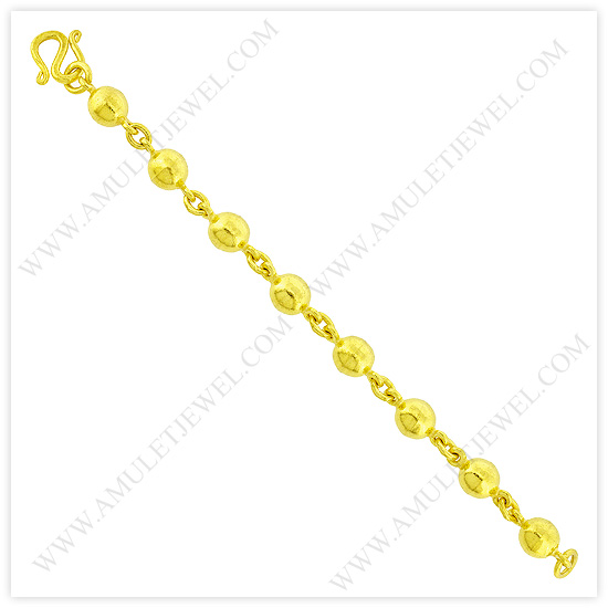 23k Yellow Gold Polished Hollow Rosary Bead Chain Bracelets