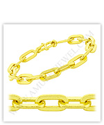 23k Yellow Polished Solid Long Flat Cable Chain Bracelets