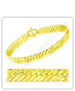 23k Yellow Matte Diamond-Cut Solid Flat Curb Chain Bracelets