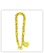 23k Yellow Sparkling Polished Diamond-Cut Solid Jar Byzantine Chain Heart Pendant Bracelets