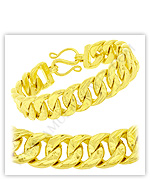 23k Yellow Polished Diamond-Cut Solid Curb Chain Bracelets