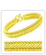 23k Yellow Polished Diamond Cut Solid Flat Braided Link Chain Bracelets
