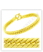 23k Yellow Polished Solid Domed Curb Chain Bracelets