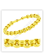 23k Yellow Polished Solid Rolo Chain Bracelets