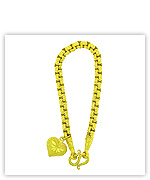 23k Yellow Polished Diamond-Cut Solid Rolo Chain Heart Pendant Bracelets