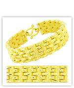 23k Yellow Matte Diamond Cut Hollow Flat M Link Chain Bracelets