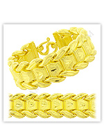 23k Yellow Polished Diamond-Cut Hollow Flat W Link Chain Bracelets