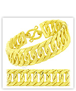 23k Yellow Matte Diamond-Cut Solid Double Curb Chain Bracelets