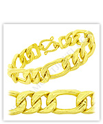 23k Yellow Polished Diamond-Cut Solid Figaro Chain Bracelets