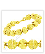 23k Yellow Sparkling Matte Diamond Cut Hollow Lotus Bead Chain Bracelets