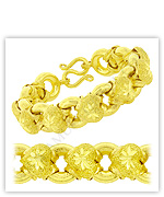 23k Yellow Sparkling Polished Diamond-Cut Hollow Heart Donut Link Chain Bracelets