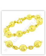23k Yellow Polished Hollow Rosary Bead Chain Bracelets
