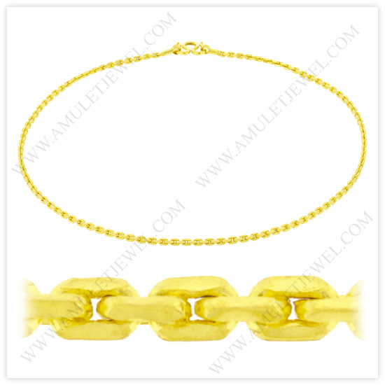 23k Yellow Gold Polished Solid Anchor Chain Necklaces Womens Mens