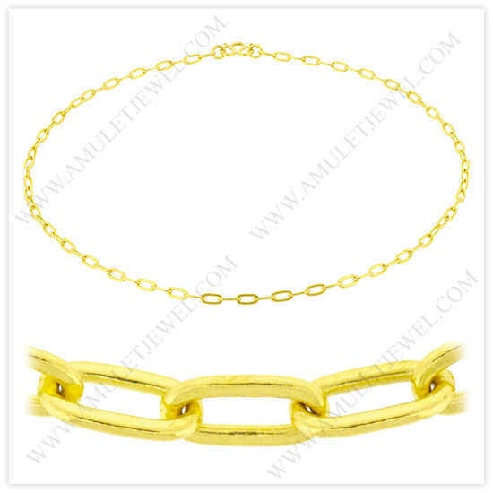 23k Yellow Gold Polished Solid Long Flat Cable Chain Necklaces (Small to Big Gold-Chains on Sale)