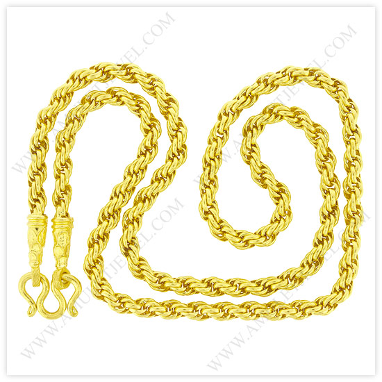 Gold Rope Chain Necklace in 23k Baht Rope Chains from Thailand A J