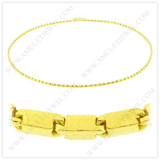 23k Yellow Gold Polished Solid Short Square Barrel Chain Necklaces (Heavy Gold Chains)