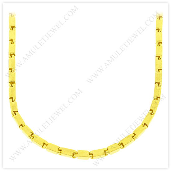23k Yellow Gold Polished Solid Short Square Barrel Chain Necklaces
