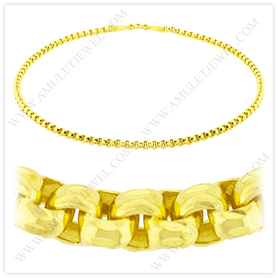 23k Yellow Gold Polished Diamond-Cut Solid Rolo Chain Necklace (24kt, 23kt, 22kt Gold Necklace)