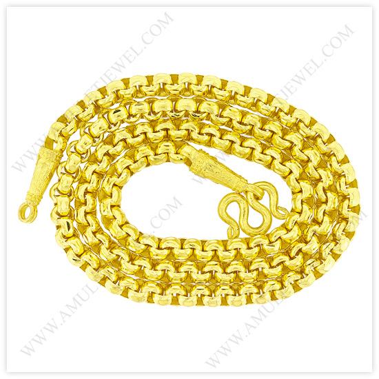 23k Yellow Gold Polished Diamond-Cut Solid Rolo Chain Necklace