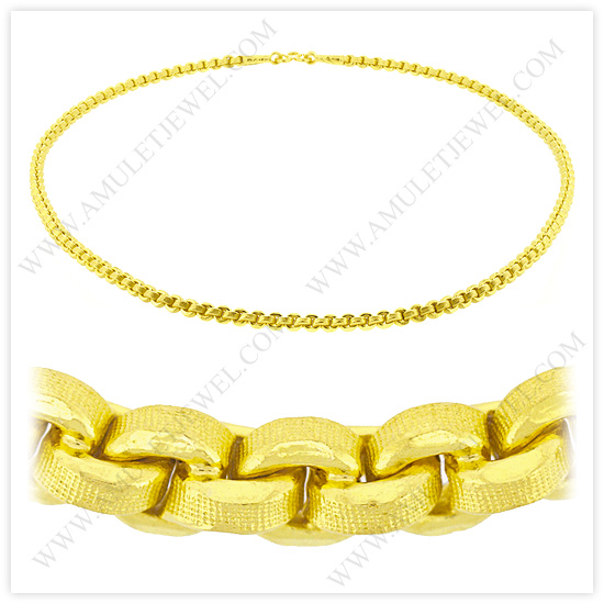 23k Yellow Gold Matte Diamond-Cut Hollow Round Anchor Chain Necklaces (24k, 23k, 22k Gold Chains)