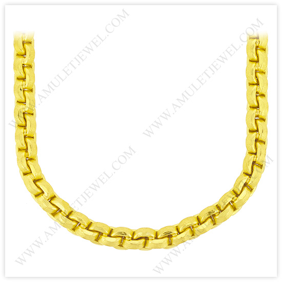 23k Yellow Gold Matte Diamond-Cut Hollow Round Anchor Chain Necklaces