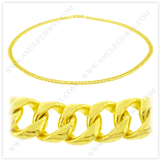 23k Yellow Gold Polished Diamond-Cut Solid Curb Chain Necklaces (Cuban-Link-Gold-Chains)
