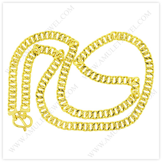 23k Yellow Gold Polished Diamond-Cut Solid Curb Chain Necklaces