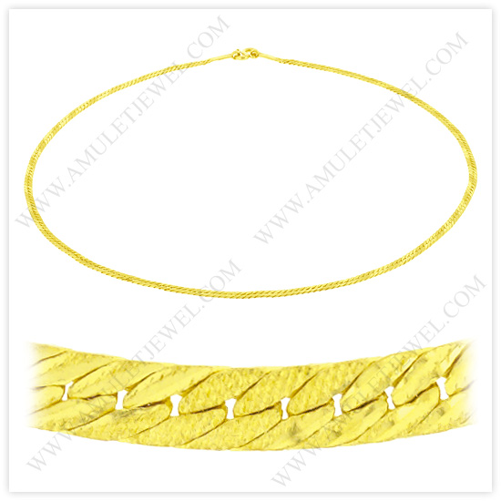 23k Yellow Gold Matte Diamond-Cut Solid Flat Curb Chain Necklaces (23k, 18k Gold Necklaces, Discount Chains)