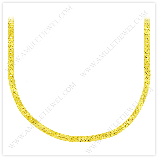 23k Yellow Gold Matte Diamond-Cut Solid Flat Curb Chain Necklaces