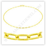 23k Yellow Gold Polished Solid Long Flat Cable Chain Necklaces