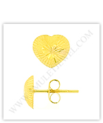 Gold Heart Stud Earrings & 24, 23, 22, 18 Karat Gold Earrings