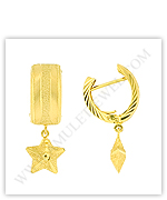 Gold Drop Earrings, 18k-Gold Earrings in Star Dangle Styles